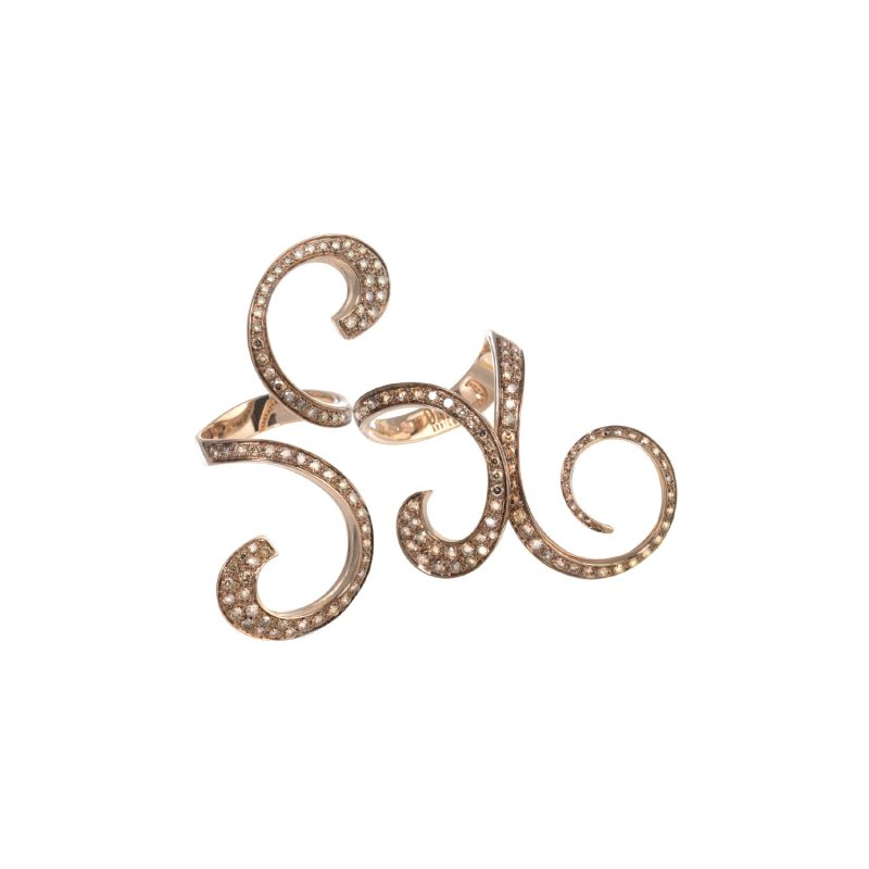 Anello Curls doppio in oro rosa rodiato e diamanti brown