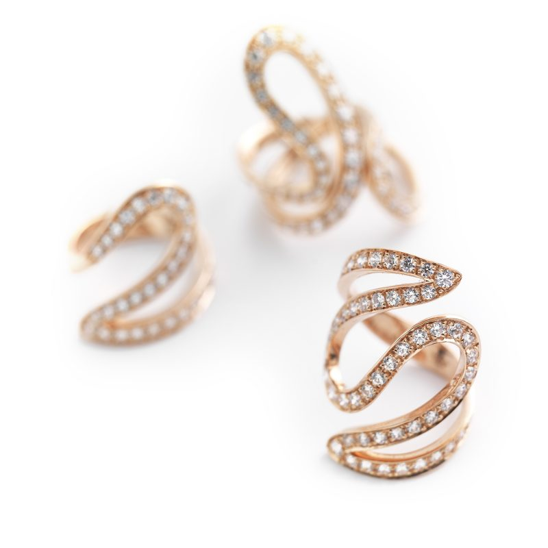 Anelli Ivy emotional rose gold white diamonds